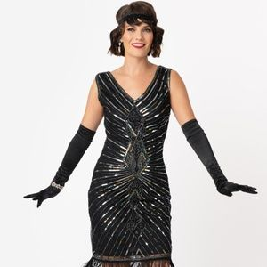 unique vintage Dresses - Black and Silver Beaded 1920's Flapper Dress